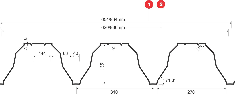 T135 trapézlemez