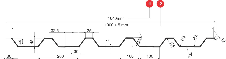 T45 trapézlemez